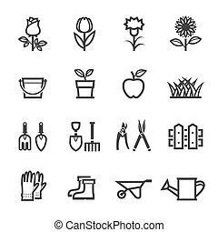 Blumen-Ikonen und Gartenwerkzeuge