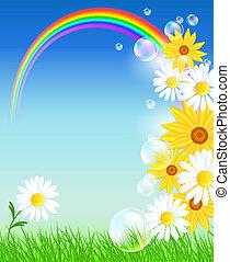 Blumen mit grünem Gras und Regenbogen