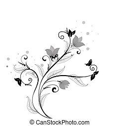 blumen muster, vlinders