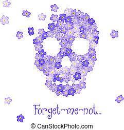 blumen-, skull., menschliche