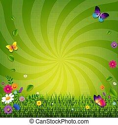 Blumen und Gras.