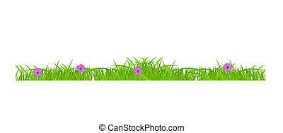 Blumen- und Grasgrenzen sind festgelegt. Vektor Illustration