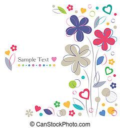 Blumen und Herzen grüßen die Karte.