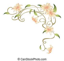 Blumen und Reben.
