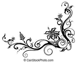 Blumen und Rebenmuster.