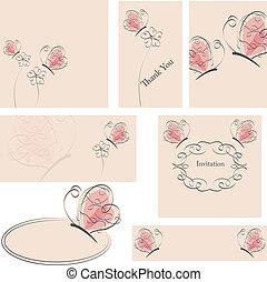 Blumen und Schmetterlingskarten