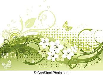 blumen-, vektor, grün, abbildung