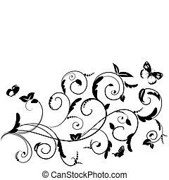 blumen-, vlinders, design