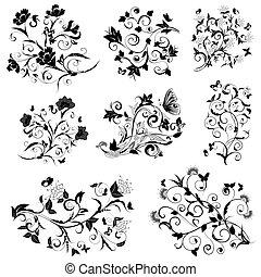 blumen-, vlinders, fester entwurf