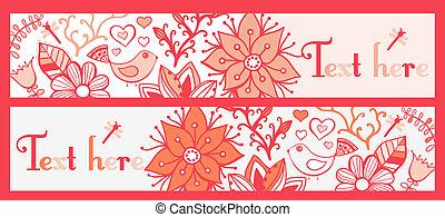 Blumenbanner, stilvolle Blumenbanner, vier horizontale, Blumenbanner oder Lesezeichen.