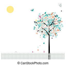 Blumenbaum schön für dein Design, Vögel am Zaun