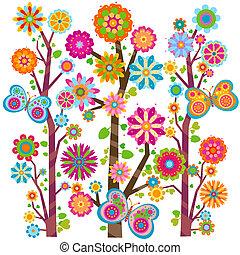 Blumenbaum und Schmetterlinge