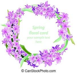 Blumenblüten runder Kartenrahmen. Frühling Sommer zarte Wasserfarben Blumen Hochzeitseinladung. Platz für Text. Vector Illustration