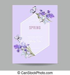 Blumenblütenfederrahmen mit lila Irisblumen. Einladung, Poster, Grußkarten-Flyer-Vorlage. Vector Illustration