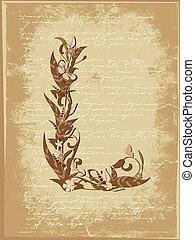 Blumenbrief auf Papiergrange