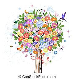 Blumendekorationsbaum mit Vögeln