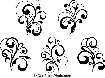 Blumenelemente und Muster