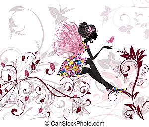 Blumenfee mit Schmetterlingen