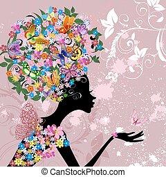 Blumenfrau mit Schmetterlingen