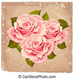 blumengebinde, rosen, design, retro