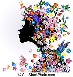 Blumenhaarstil, Mädchen und Schmetterlingsvogel