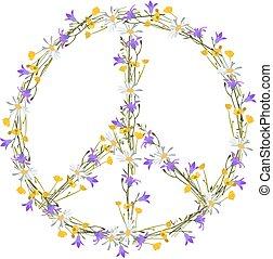 Blumenkraft Friedenssymbol.