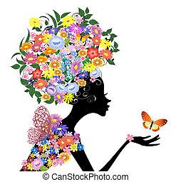 Blumenmädchen im Profil mit einem Schmetterling