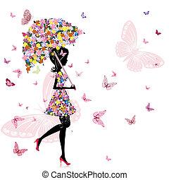 Blumenmädchen mit Regenschirm