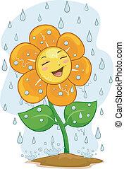 Blumenmaskottchen unter dem Regen