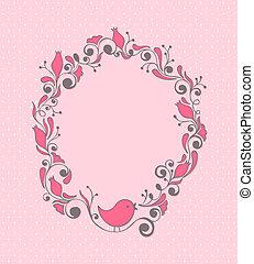 Blumenrahmen mit Vogel