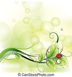 Blur Hintergrund mit Ladygeburt. Vector