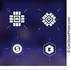 Blur verschwommene Hintergrundbrief-Logo-Set.
