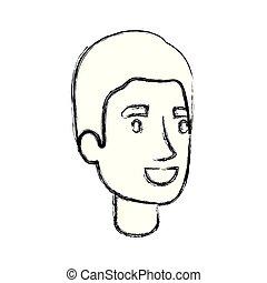 Blurred Silhouette des Menschen Gesicht mit simplem Haarschnitt.