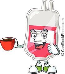 blut, bohnenkaffee, karikatur, bild, tasche, zeichen, becher