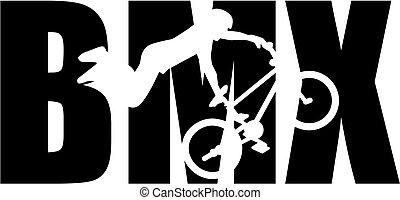 BMX Wort mit Silhouette Cutout.