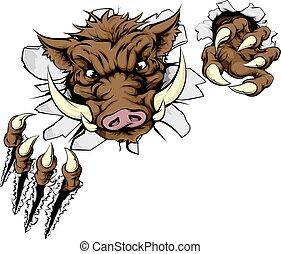 Boar Sportmaskottchen bricht die Wand.