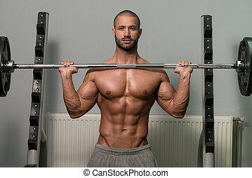 bodybuilder, hantel, schultern, trainieren