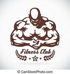 bodybuilder, modell, abbildung, fitness