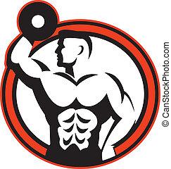 bodybuilder, retro, heben, hantel