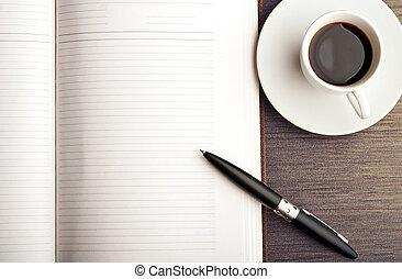 bohnenkaffee, buero, stift, notizbuch, leer, weißes, rgeöffnete