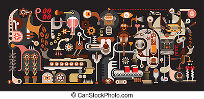bohnenkaffee, fabrik, abbildung, vektor