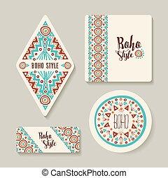 Boho Style Sticker oder Tags mit Stammeskunst