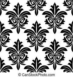 Bold foliate arabesque Motiv in schwarz und weiß.