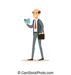 Bold Man-Lehrer beim Lesen eines Buches, lächelnde Person in der Bibliothek Vektor Illustration