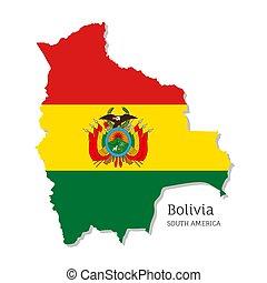 bolivien, landkarte, nationales kennzeichen
