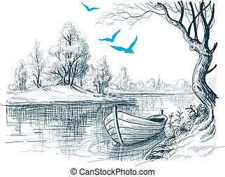 Boot auf Fluss / Delta Vektor Sketch