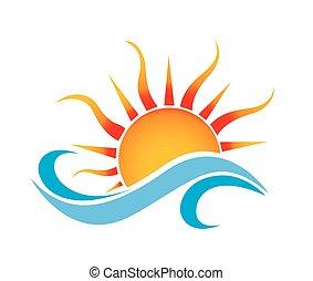 Bootswellen und Sonnenlogo.