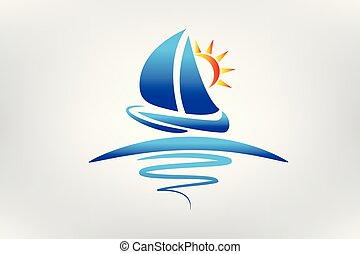 Bootswellen und Sonnenlogovektoren.