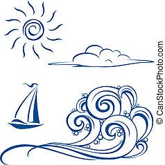 Bootswellen, Wolken und Sonne