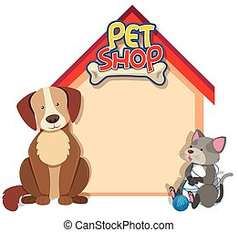 Border Template mit Hund und Katze.